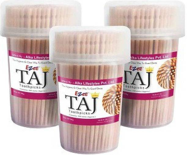 TAJ Wooden Toothpicks With Each Container 350Pcs, For Dental Flossing