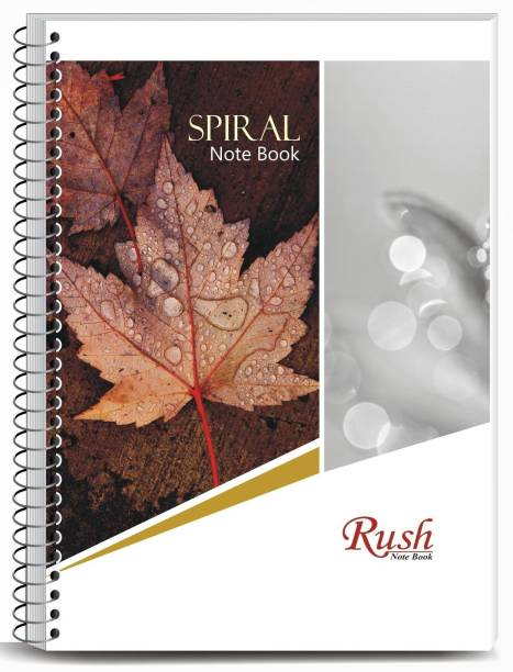 Rush 200 Page A4 Unruled Spiral Notebook | Pack of 5 | Unruled Plain Spiral Bound A4 Notebook Unruled Plain 200 Pages