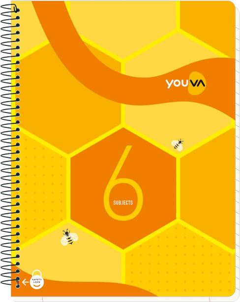NAVNEET Youva Spiral & Soft Bound Subject Book 23x26 cm Regular Notebook Single Line 300 Pages
