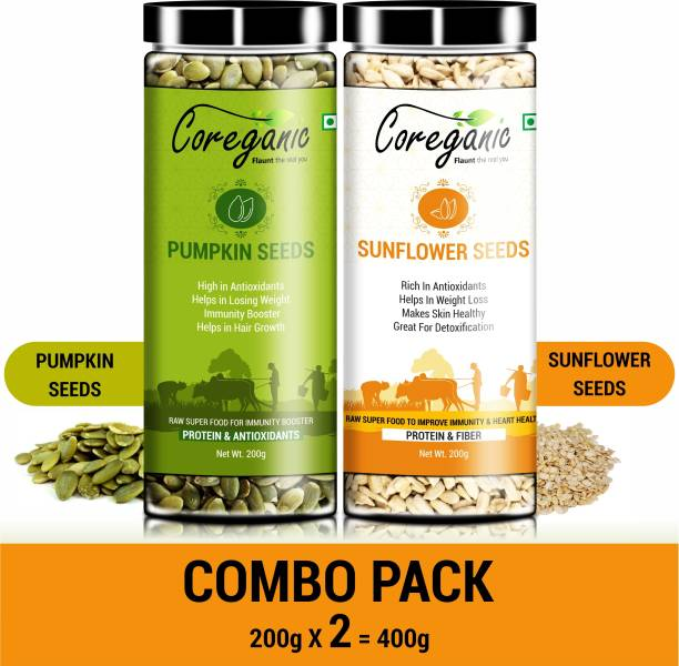 Coreganic Certified Raw Pumpkin & Sunflower Seeds Combo Pack - Protein and Fiber Rich Superfood