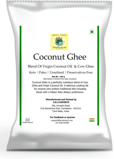 iFarmerscart Coconut Ghee | Blend of Virgin Coconut Oil & Cow Ghee 250 g Pouch