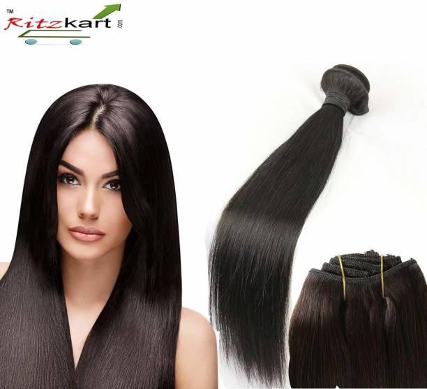 Ritzkart WOMEN HUMAN HAIR WEFT STRAIGHT REMY HAIR DOUBLE DROWN INDIAN HUMAN HAIR EXTENSION WEAVES 1 BUNDLE 100GM (natural black 22 inch) Hair Extension
