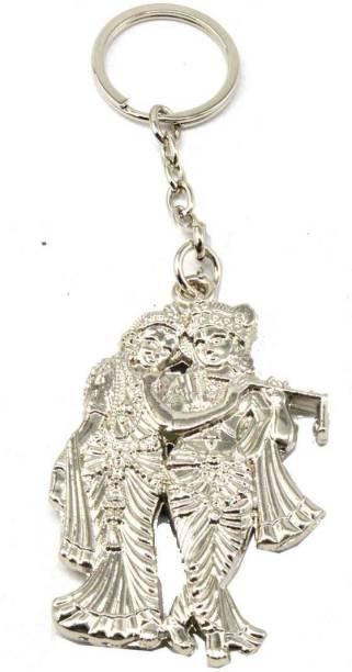AFH Radha Krishna Silver Plated Spiritual Decorative Quality Key Chain For Gifiting Key Chain