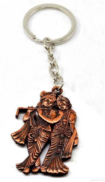 AFH Radha Krishna Copper Plated Spiritual Decorative Quality Key Chain For Gifiting Key Chain