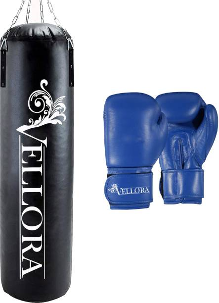Vellora Combo Unfilled Punching Bag 4ft with Boxing Gloves For Boxing Kit