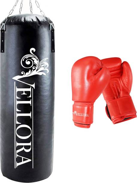 Vellora Combo Unfilled Boxing Punching Bag 4ft with Boxing Gloves For Boxing Kit
