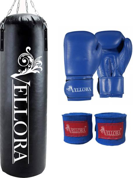 Vellora Unfilled Boxing Bag 4ft with Wrap+Boxing Gloves Boxing Kit