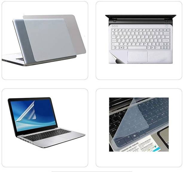 SDM 3in1 Combo of Premium Quality Trink Crystal Clear Stretchable Transparent Skin for Laptop with Screen Protector Guard and Key Skin and trackpad for 15.6 inches Combo Set Combo Set
