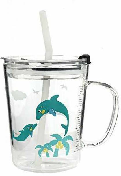 Upscale Creative Cartoon Printed/Cup with Handle, Straw, Airtight Lid & Measuring Scale - 400 ML - 1 Piece - Random Design Glass Coffee Mug