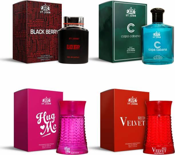 ST-JOHN Perfume Combo of 4 Perfumes | Black Berry Perfume 100 ml For Men | Copa Cabana Perfume 100 ml For Men | Hug Me Perfume 100 ml For Women | Red Velvet Perfume 100 ml For Women Eau de Parfum  -  400 ml
