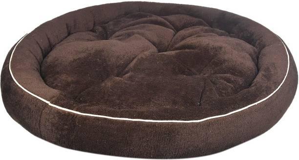 PILA BRASILEIRO Round Pet Sofa Shape Reversable Dual Cream Brown Color Ultra Soft Ethnic Designer Velvet Bed for Dog and Cat Easy Washable M Pet Bed