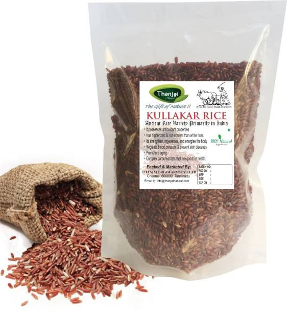 THANJAI NATURAL 2Kg Kullakar Rice Pure Oldest Traditional Method Farmed Red Raw Rice (Long Grain, Unpolished)