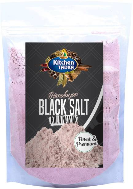 KITCHEN TADKA Pure Himalayan black rock salt powder( Kala Namak ) Low sodium 1 KG used for chat items, garnishing salads, making marinades and is an essential part of many ethnic Indian beverages pouch pack Black Salt