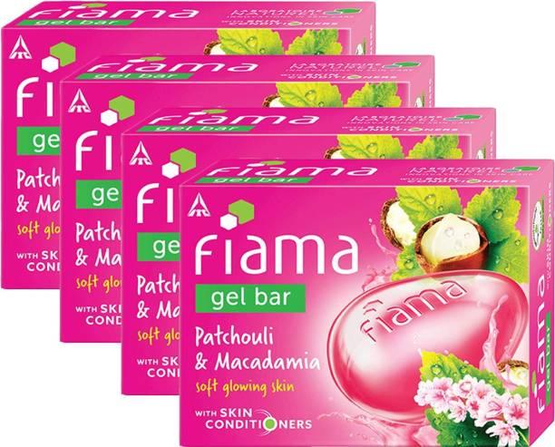 FIAMA Gel Bar Patchouli And Macadamia Soft Glowing Skin 125g Pack Of 4