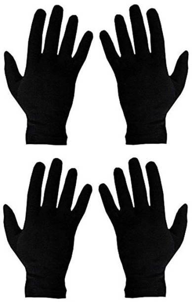 HF LUMEN Unisex Skin Black Half Cotton Gloves With Fingure Riding Gloves