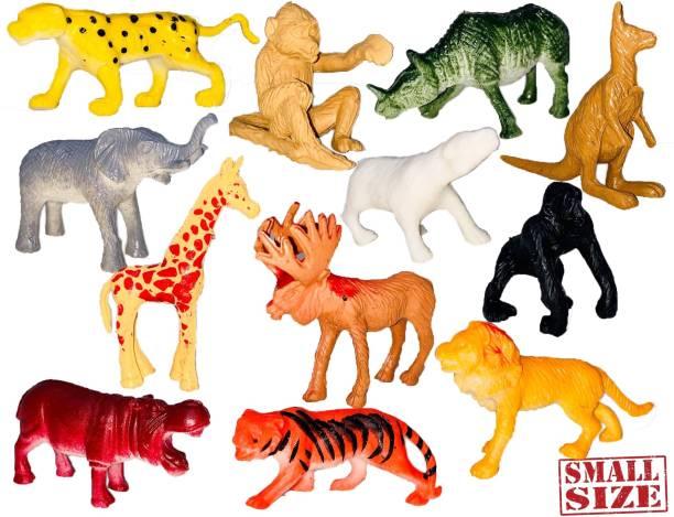 Extrawish Mini Animal SET-12 PC | Made of Vinyl Plastic Animals Toys Set | Very Small Tiny Animal Basic Set