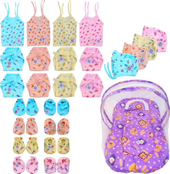 V.B.K Baby Essential Combo Set Of 21 Items With Jhabla (4 Pcs), Nappy (Langot) (8 Pcs), Hand Mittens (4 Pair), Leg Booties (4 Pair), Cap (4 Pcs) and Bedding Set With Pillow and Mosquito Protector Net, Hosiery Soft Fabric For Cloth, 0 - 4 Months