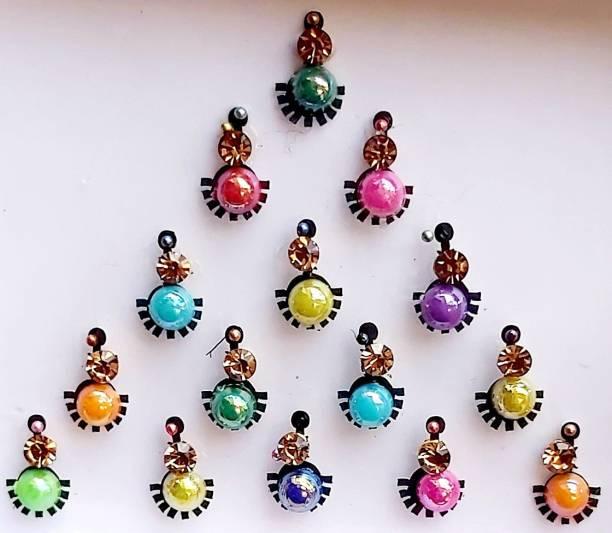 QUBIX Women Best Bindi Combo Pack 10 Flaps Multi stone Colors Woman Multicolor Bindis