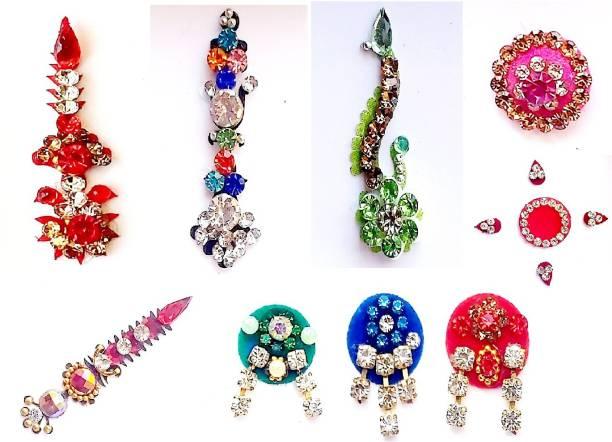 QUBIX Women Best Bindi Combo Pack 9 Flaps multiple Colors Woman Multicolor Bindis