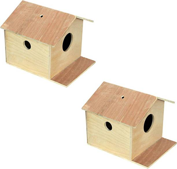 VARASANI TRADERS Bird House nest Box for Sparrow, Squirrel,Small Birds Best Gift for Kids(Brown) , Bird House Nest Boxes for Sparrow, Finches, Pet Bird House for Birds set of 2 Bird House