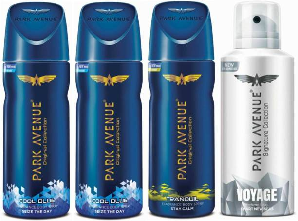 PARK AVENUE Two Cool Blue, One Tranquil, One Voyage Signature Deodorant Combo for Men(Pack of 4) Deodorant Spray  -  For Men