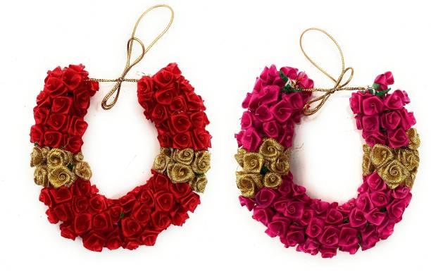 vahvaa Bridal Flower Bun Hair Gajra For South Indian Wedding, Juda Decoration Gajra, Pack Of 2 (Red,Rose) Bun