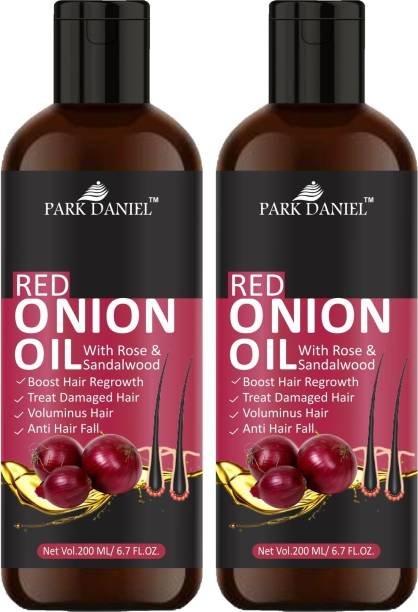 PARK DANIEL Red Onion Oil with Rose & Sandalwood oil to Boost hair growth and stop hair fall combo pack of 2 bottles of 200 ml(400 ml) Hair Oil