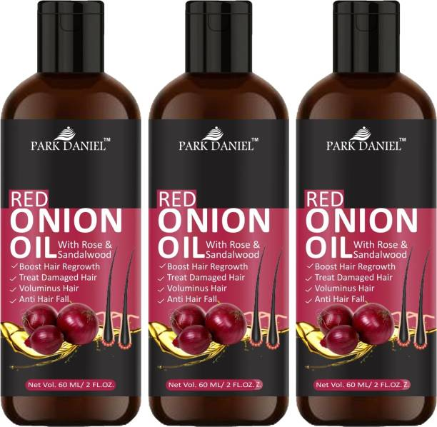 PARK DANIEL 100% Pure & Natural RED ONION OIL- For Hair Regrowth & Anti Hair fall Combo Pack of 3 Bottles of 60 ml Hair Oil