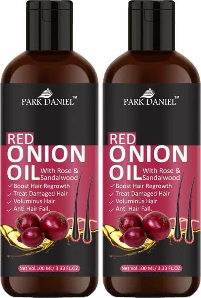 PARK DANIEL 100% Pure & Natural RED ONION OIL- For Hair Regrowth & Anti Hair fall Combo Pack of 2 Bottles of 100 ml Hair Oil