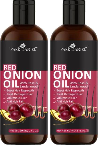 PARK DANIEL 100% Pure & Natural RED ONION OIL- For Hair Regrowth & Anti Hair fall Combo Pack of 2 Bottles of 60 ml Hair Oil