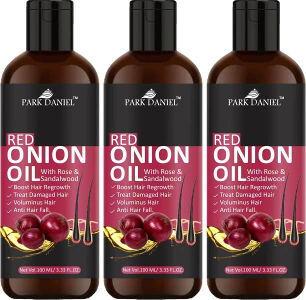PARK DANIEL 100% Pure & Natural RED ONION OIL- For Hair Regrowth & Anti Hair fall Combo Pack of 3 Bottles of 100 ml Hair Oil