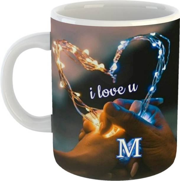 """PASHUPATASTRA """"I Love You"""" M Letter Printed (Couple Heart) Classic Stylish Coffee Gift For Valentine's day ,Friends , Lovers , , Anniversary Gift , Ceramic Coffee Mug"""