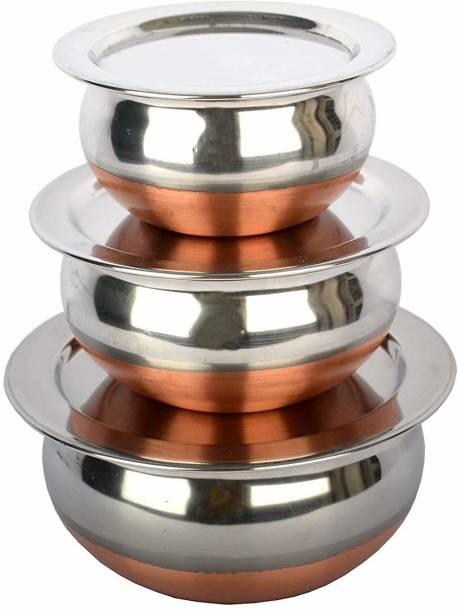 GALOOF New Copper Bottom Handi Pot 3 Piece Set/Steel Handi Set 3 Piece Set with lid handi Cookware Set HandI Handi 0.8 L, 1.1 L, 1.6 L with Lid