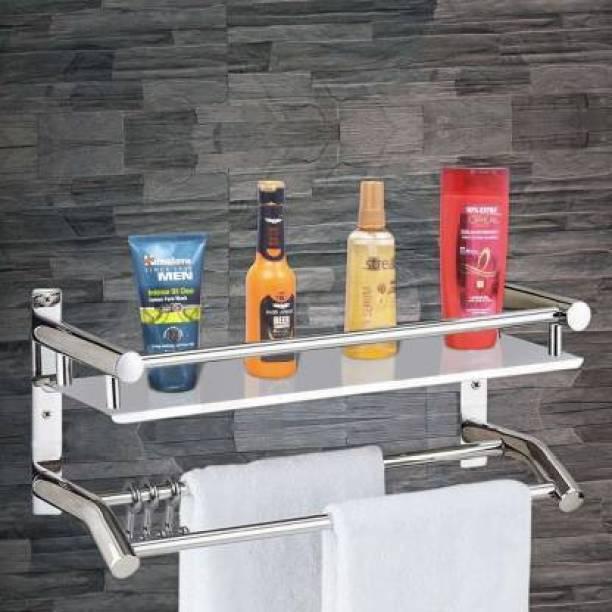 Capital High Grade Stainless Steel Multipurpose 2 Tier Bathroom Shelf with Towel Holder/Towel Hooks/Bathroom Accessories Wall-Mount (Silver) Stainless Steel Wall Shelf