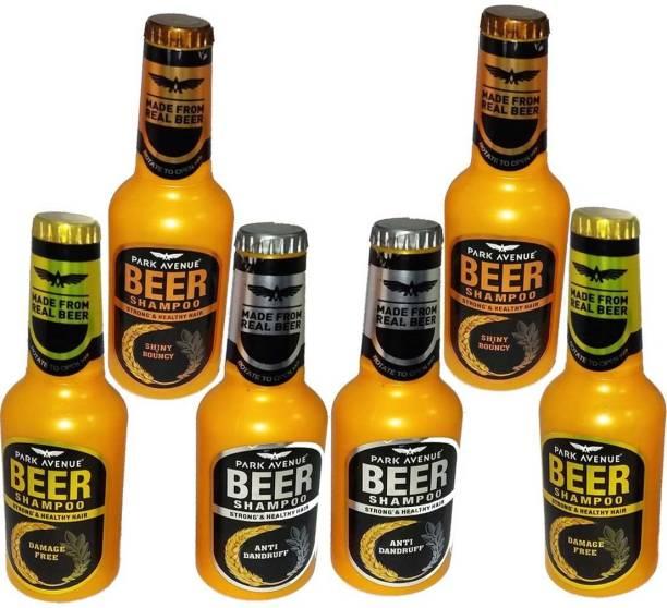 PARK AVENUE Beer Shampoo Shiny & Bouncy, Anti Dandruff & Damage Free Pack Of 6