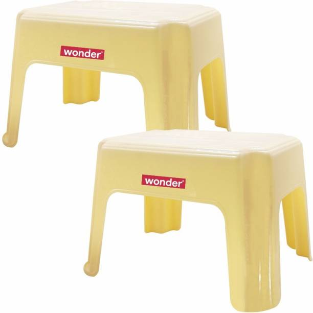 Wonder Plastic Patra, Set of 2, Yellow Color, Made in India Bathroom Stool