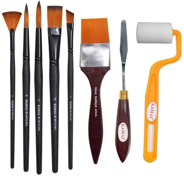 Kamal Artist Quality Matte Handle Essential Painting Tool Kit with Painting Knife and Roller for Watercolor, Acrylic, Oil Painting