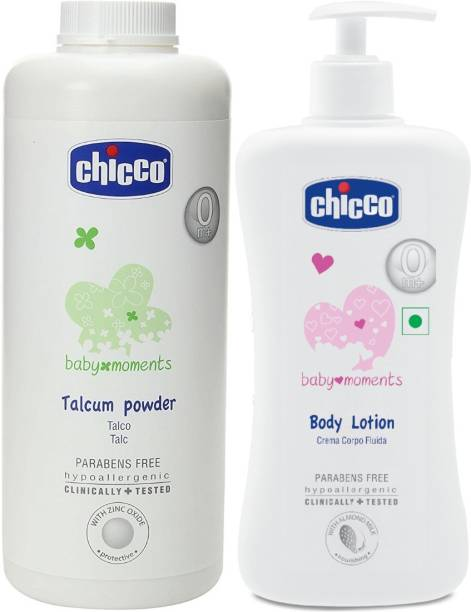 Chicco Baby Powder 500gms and Baby Lotion 500 ml