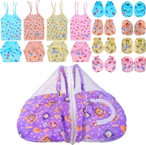 V.B.K Baby Essential Combo Pack/Gift Pack Of 13 Items With Jhabla (4 Pcs), Nappy (Langot) (4 Pcs), Hand Mittens (4 Pair), Leg Booties (4 Pair) and Bedding Set With Pillow and Mosquito Protector Net, Hosiery Soft Fabric For Cloth, 0 - 4 Months