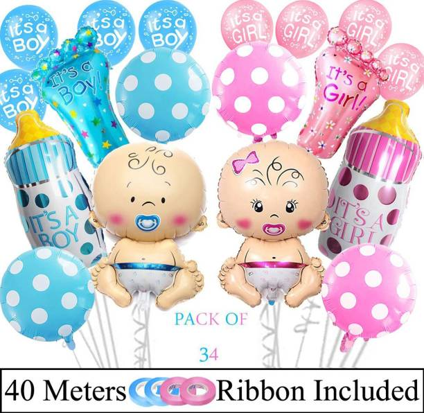 DECOR MY PARTY Printed It's A Boy & Girl Printed Foil Balloon Combo For Baby Shower Party Decoration / Welcome Baby Decorations Items For Baby Boy & Girl / Baby Arrival Balloons Kit Balloon