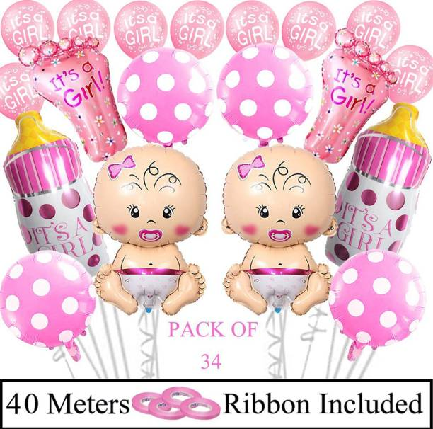 DECOR MY PARTY Printed It's A Girl Foil Balloon Combo For Baby Shower Party Decoration / Welcome Baby Decorations Items For Baby Girl / Baby Arrival Balloons Kit Balloon