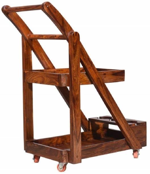 MAHIMART AND HANDICRAFTS Solid Wood Bar Trolley