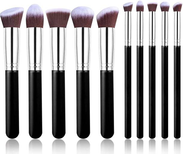 SKINPLUS Premium Synthetic Makeup Brush Set (black)