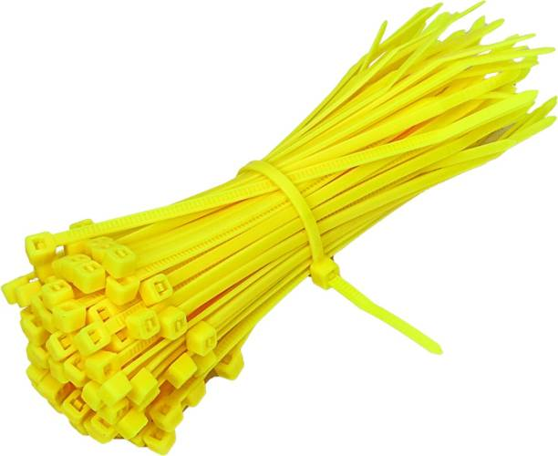 Electronic Spices Yellow Cable Zip Ties,66 Nylon Self Locking Wire Zip Ties (2.5X150mm) 100 Pieces Nylon Flexible Straps Cable Tie