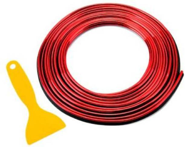 Car Life Metallic Red Chrome Interior Decoration Beading, Flexible Styling PVC Moulding Trim Strip (5 Meters) Car Beading Roll Car Beading Roll For Window, Door, Grill and Garnish Cover