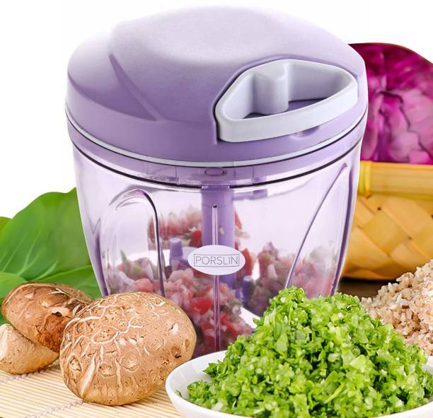 Porslin 5 Stainless Steel Blade System 900 ML Helpful Purple Color Mini Chopper for Kitchen Dori Chopper Quick Handy Vegetable and Fruit Chopper XXL Size Fruit Nut Onion Chopper, Hand Meat Grinder Mixer Food Processor Shredder Salad Maker Vegetable Tools Cutter for Kitchen Vegetable & Fruit Chopper