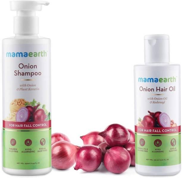 Mam Anti Hair Fall Express Spa Range with Onion Hair Oil + Onion Shampoo for Hair Fall Control 250ml