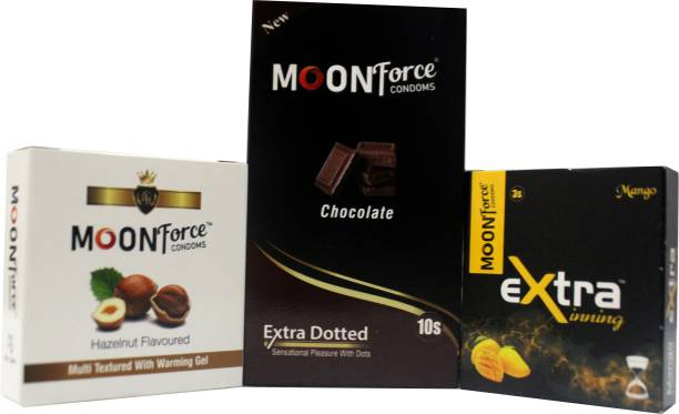 MOONFORCE COMBO_PACK_WITH_3_DIFFRENT_FLOUVERS_CHOCOLATE_HAZELNUT_MANGO _16PSC Condom