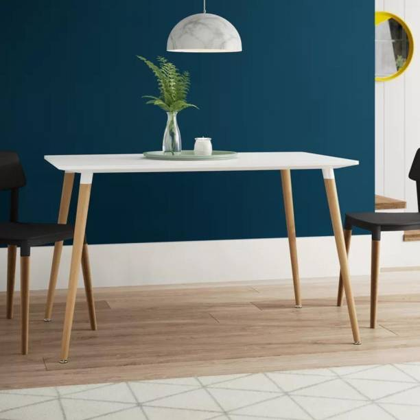 Finch Fox Rectangular Dining Table (White) (Size:-73cm H x 120cm W x 80cm D) Engineered Wood 4 Seater Dining Table