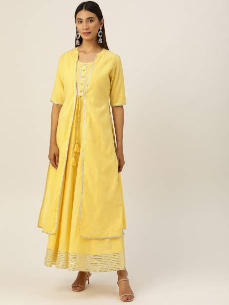 LAABHA Women Fit and Flare Yellow Dress